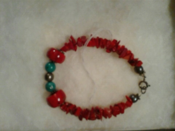 red and green beaded bracelet