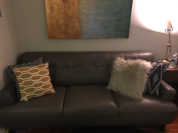 Gray leather 3-seat sofa