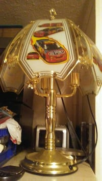 car printed gold-colored table lamp Kelso, 98626