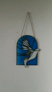 Stained glass white bird on blue background Richmond Hill, L4B 0B6