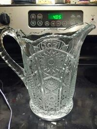 Large depression glass pitcher