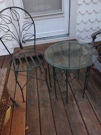 Round green metal framed glass top table with chair Myersville, 21773