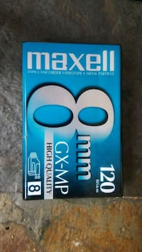 Maxell 8mm tape.  GX-MP 120, blank, brand new.  Inwood, 25428