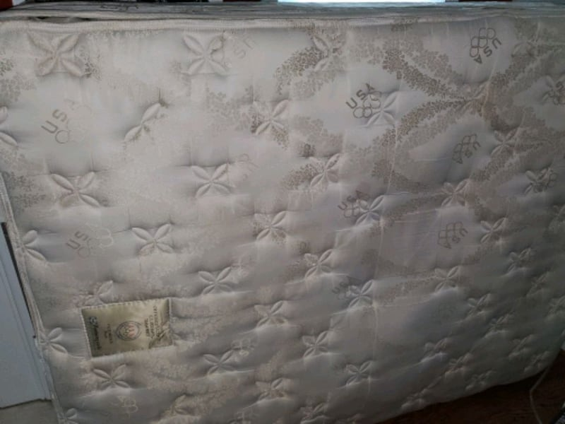 Queen sized box spring, mattress, and frame 3d67de82-ff22-4be7-91fd-746c1609d744