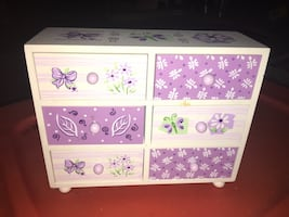 White and purple wooden jewelry box