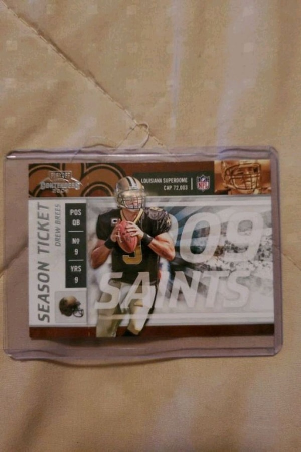Playoff contender 2009 Drew Brees New Orleans Saints Season Ticket Car 0