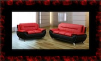 Red/black sofa and loveseat 2pc set Ashburn