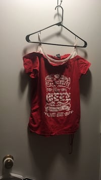 women's red and white offshoulder top