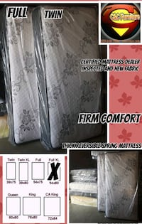 Full Firm Thick Reversible Spring Mattress Only  Fresno, 93726