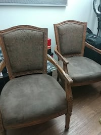 two gray suede padded armchairs Glendale, 91204