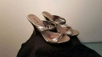 Silver/ pewter heel sandals