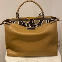 Fendi Goatskin Watersnake Large Peekaboo Satchel