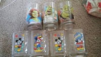 Mcdonalds 7 glasses from shrek and mickey mouse