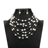 Pearl and Gold  Multi Strand Necklace set Oak Lawn, 60453