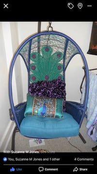 blue and green floral padded armchair Westminster, 21158