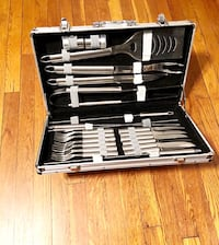 New! BBQ Tools Set 22 paid $76 Pack Stainless Steel Barbecue Grilling Accessories.   Stainless steel Includes spatula with built in serrated blade, bottle opener, tongs, cutting knife, 6 folks, 6 knifes, 4 BBQ skewers, 2 seasoning shakers. Missing the gri