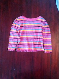 Girls Pink Striped Long Sleeve Shirt by Caranimals Caldwell