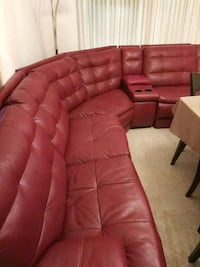 tufted red leather sectional sofa DeSoto, 75115