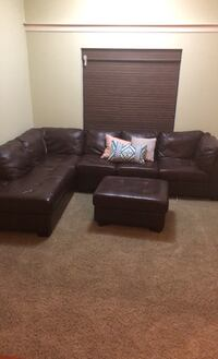 Chocolate  Leather Sectional Sofa and Ottoman Fort Mill, 29715