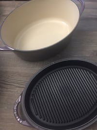 Le Creuset Cassis (Rare) SM 4.75 Qt Cast Iron Roaster w/Grill Pan Lid Washington, 20001