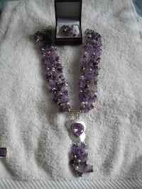 Amethyst with Cultured Pearls Silver Necklace & Earnings to match Mississauga