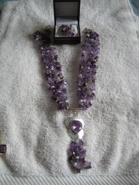 Amethyst with Cultured Pearls Silver Necklace & Earnings to match