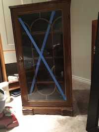 Antique cabinet.   A minimum of 70 years old.  Front glass cracked at bottom. Calgary, T2H 2X1