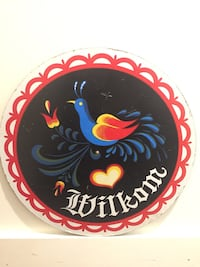 Vintage 1970's Wilkom Sign, Hex Bird of Paradise For Good Luck, Love, and Happiness!