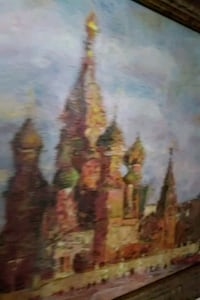Oil painting red square russia. 13 by 16