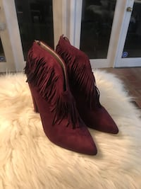 Wine colour suade booties