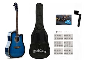 Blue Acoustic guitar with soft bag, string winder, 3 picks, Basic chor