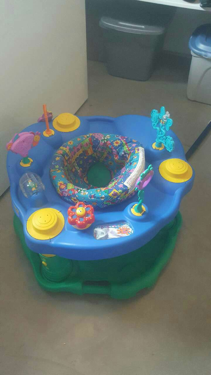 baby's blue and green activity center