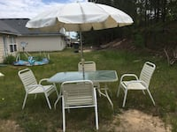 Patio Table with Umbrella and 4 Chairs