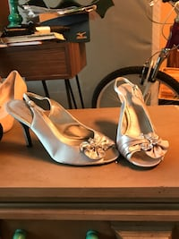 pair of gray leather open-toe ankle strap heels College Station, 77845