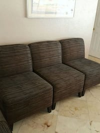 brown wooden framed gray padded sofa Fort Lauderdale, 33334