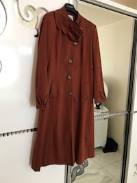 Robe manches longues marron femme