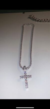 White Gold Diamond Cross With 3mm Round Cut Tennis Necklace