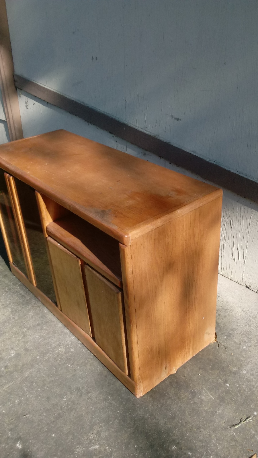Wood cabinet glass table computer desk cd case - CA