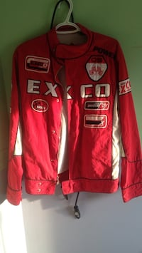 Red and white EXCO UNLTD racing jacket  Edmonton, T5A 4L1