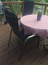 Patio Table and Chairs (Hammered Bronze and Navy) with Winter Cover