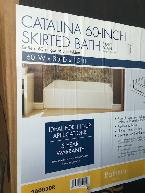 Used Catalina 60 inch skirted bath for sale in Jacksonville - letgo