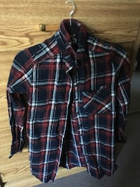 White blue and red women's plaid shirt Langley, V2Y 2S8