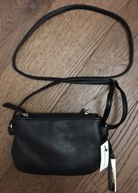 New Kenneth Cole Reaction Black Taupe Double Zip Crossbody Handbag Purse Chicago, 60611