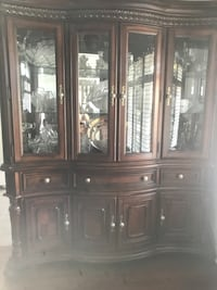 brown wooden framed glass china cabinet Brampton, L6P 3K4