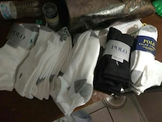 black and white POLO socks