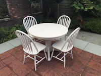 round white wooden table with four chairs Surrey, V3Z 9Z3