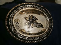 All silver rodeo buckle.  Great Falls, 59404