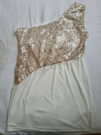 women's white and gold-colored dress Mississauga, L5R 3J8