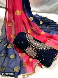 Khatli Work Chanderi Silk Dress Material Delhi