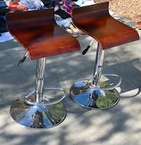 Two stainless steel base with brown leather padded bar stools Surprise, 85388